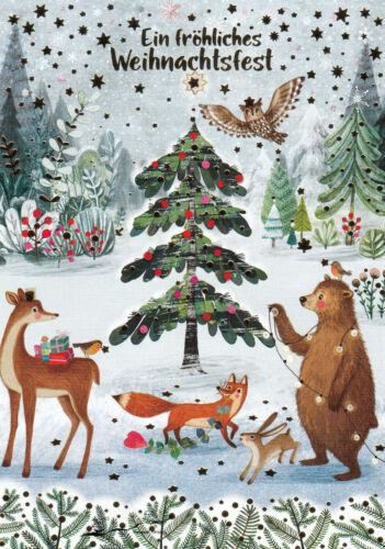 Bär Reh Fuchs Eule Postkarte Mila Marquis Ein fröhliches Weihnachtsfest