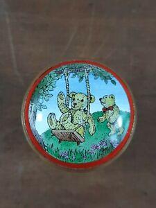 Halcyon-Days-Enamel-Bears-On-Swing-Playground-Pill-Trinket-Box-Collectible-Rare