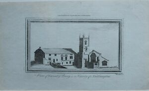 c1784-ANTIQUE-PRINT-VIEW-OF-DAVENTRY-PRIORY-COUNTY-of-NORTHAMPTON