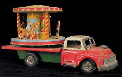 Autos & Lkw PräZise Selten Antik Tn Nomura Blech Spielzeug Litho Clown Zirkus Lkw Karussell Reibung Bequem Und Einfach Zu Tragen Blechspielzeug
