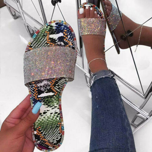 Details about  /Women Outdoor Snake Print Flats Open Toe Light Shoe Casual Beach Walk Slippers