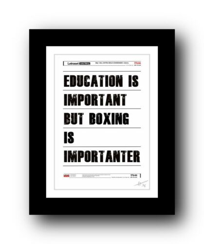 Boxing typography poster art signed limited edition print cool gift