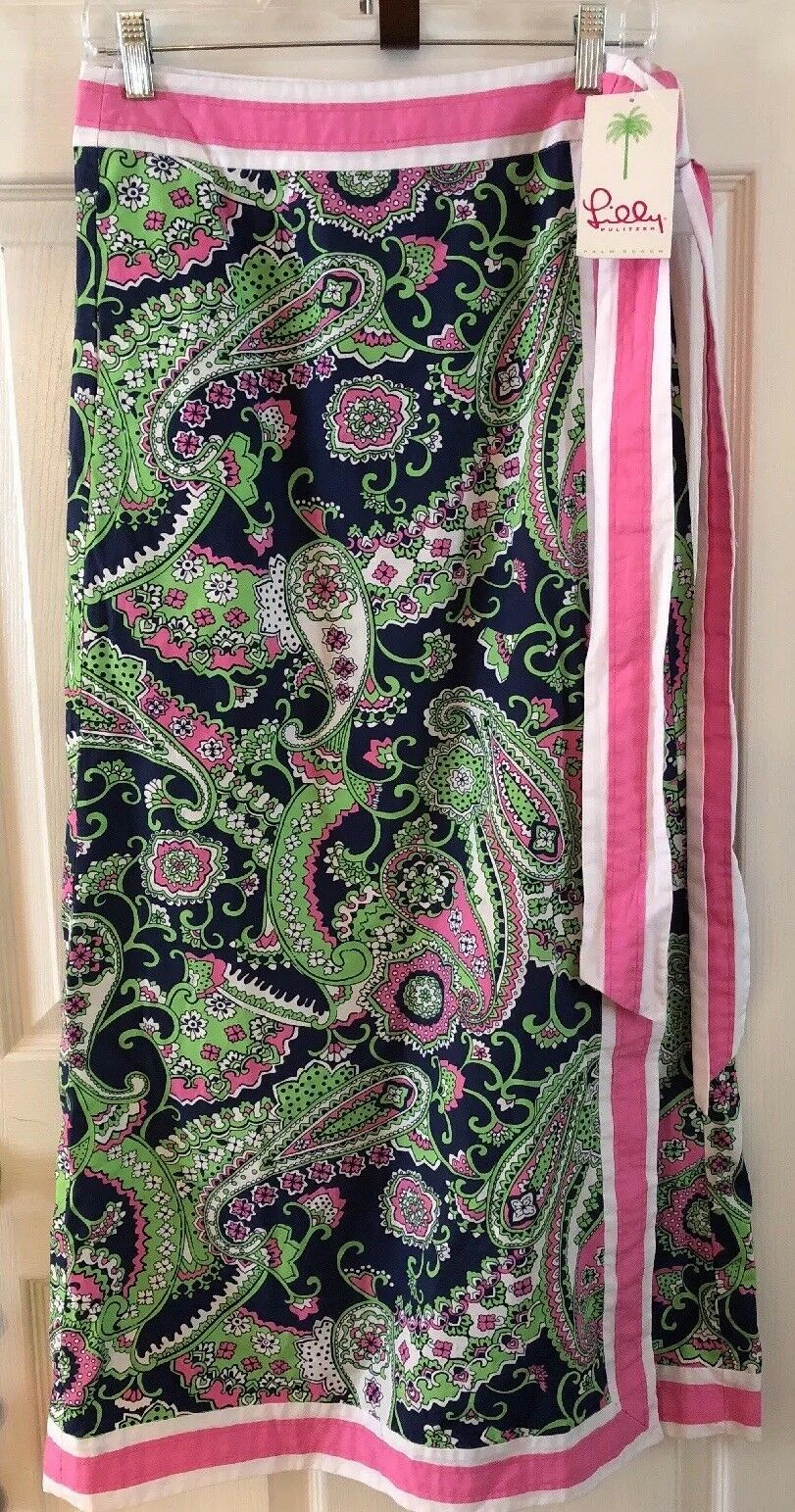 NWT Lilly Pulitzer Celine Long Wrap Skirt Navy Pink Green Paisley Small MRP