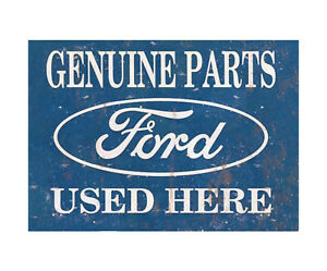 Ford Genuine Parts Advertising Garage Sign Vintage Shed Workshop Metal Plaque