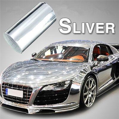 """4""""x60"""" Car Mirror Chrome Silver Vinyl Wrap Sticker Decal Film Sheet Air Release"""