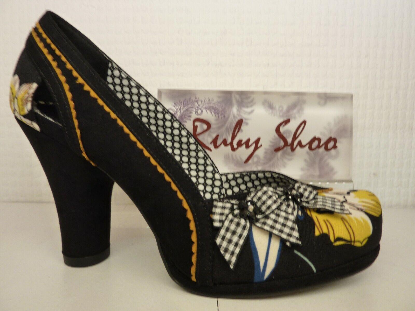 Ruby Shoo Livia Nero Giallo Floreale con Tacco a Blocco Tagliato Tribunale Scarpa | Terrific Value  | Scolaro/Signora Scarpa