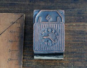Kupferklischee-UHR-Bleisatz-Druckstock-Klischee-Galvano-Drucken-Druckerei-Wecker