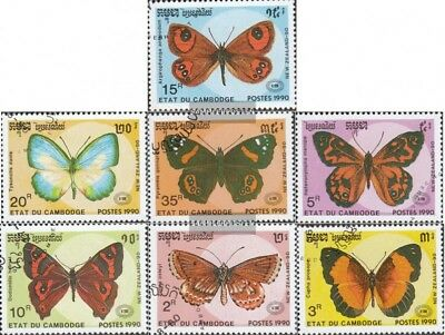 Cambodia 1142-1148 (complete Issue) Used 1990 Butterflies To Ensure A Like-New Appearance Indefinably