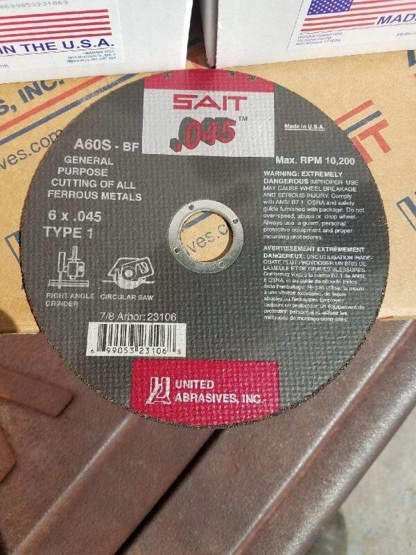 "Sait 23106 6/"" x .045 x 7//8/"" Cut-off Wheel Box of 50"