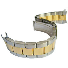 20mm Hadley-Roma MB4427 Mens Two Tone Oyster Curved End Watch Band Bracelet