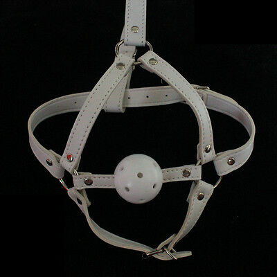 PU Leather Solid Silicone Ball Gag With Chin Restrain bondage Head mask harness