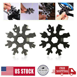 18 In 1 Multi Tool Portable Stainless Snowflake Shape Key Chain Screwdriver US