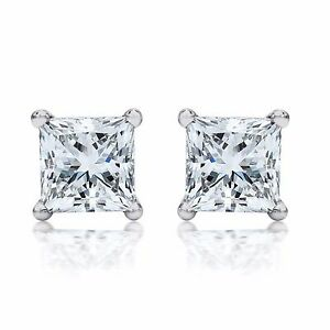 Princess-Cut-Earrings-2-00-ctw-Studs-Screw-Backs-14K-White-Gold-4494
