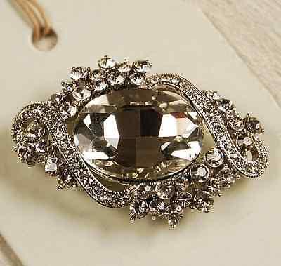 Vintage Look Faceted Oval Flower Diamante Rhinestone Crystal Wedding Brooch Pin Ebay