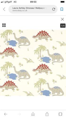 children/'s wallpaper 2 Rolls Laura Ashley DINOSAUR Linen//Multi