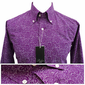 Relco Mens Purple Paisley Print Shirt NEW Button Down Collar Mod ...