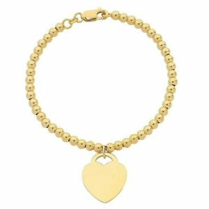 Bevilles 9ct Yellow Gold Silver Infused Bracelet with Heart Charm
