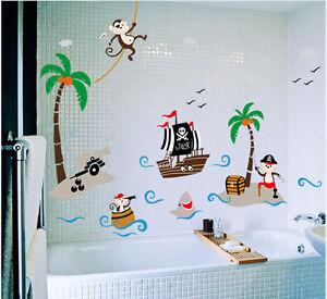 Details zu Wandtattoo Wandsticker Piraten Schiff Kinderzimmer Affen Tiere  Baby Kind Junge