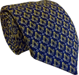 Masonic Mens Tie with Blue Check and Square and Compass Motif Design