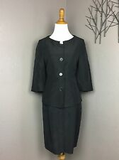 Rene Lezard Gray 2 Pc Silk Blend Skirt Suit 38 US 6/8