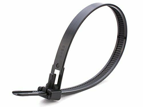 300mm x 7.6mm Premium 100 Pack of Heavy Duty Black Releasable Cable Ties