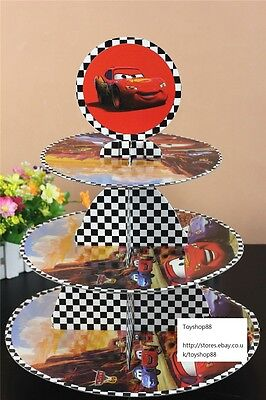 3 Tier Cupcake Stand Cup Cake Cases Toppers Wrappers, Cars Lighting  McQueen