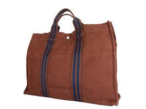 c1524d526c0 Auth HERMES Fourre Tout MM Brown Canvas Tote Bag HF17062L   eBay