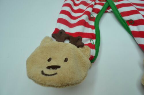 LITTLE ME My First Christmas Boy Girl Reindeer Applique Sleeper Coverall NWT