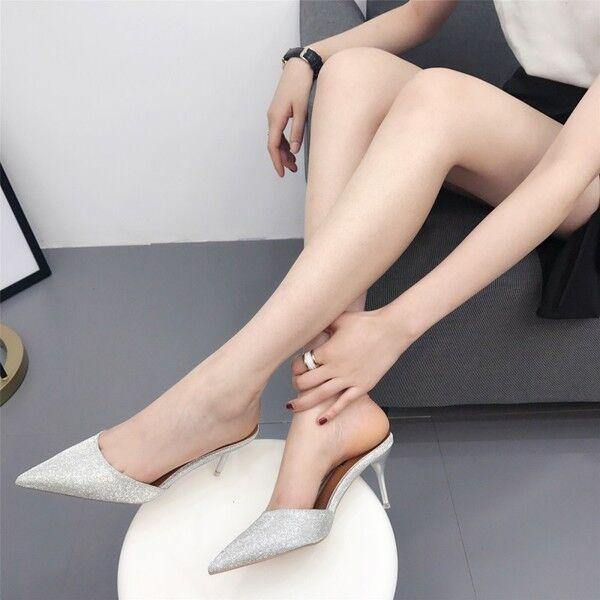 Sandali eleganti sabot  ciabatte stiletto plata 7 cm pelle sintetica  9839