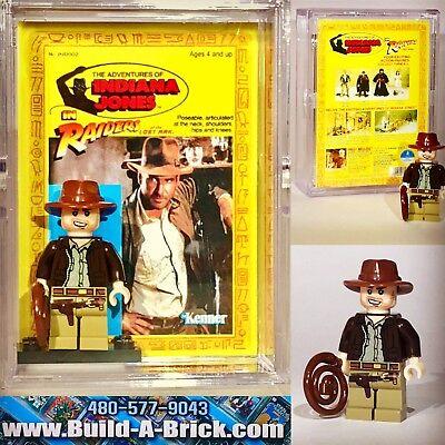 Indiana Jones Custom Mini Action Figure w DISPLAY CASE /& STAND 023 Mini-Fig