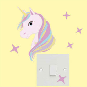 Novelty-Pink-Unicorn-Stars-Light-Switch-Wall-Stickers-For-Kids-Rooms-Art-Decal