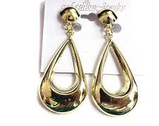 CLIP-ON EARRINGS TEARDROP HOOP EARRINGS GOLD TONE LIGHTWEIGHT HOOPS 2.5 IN LONG