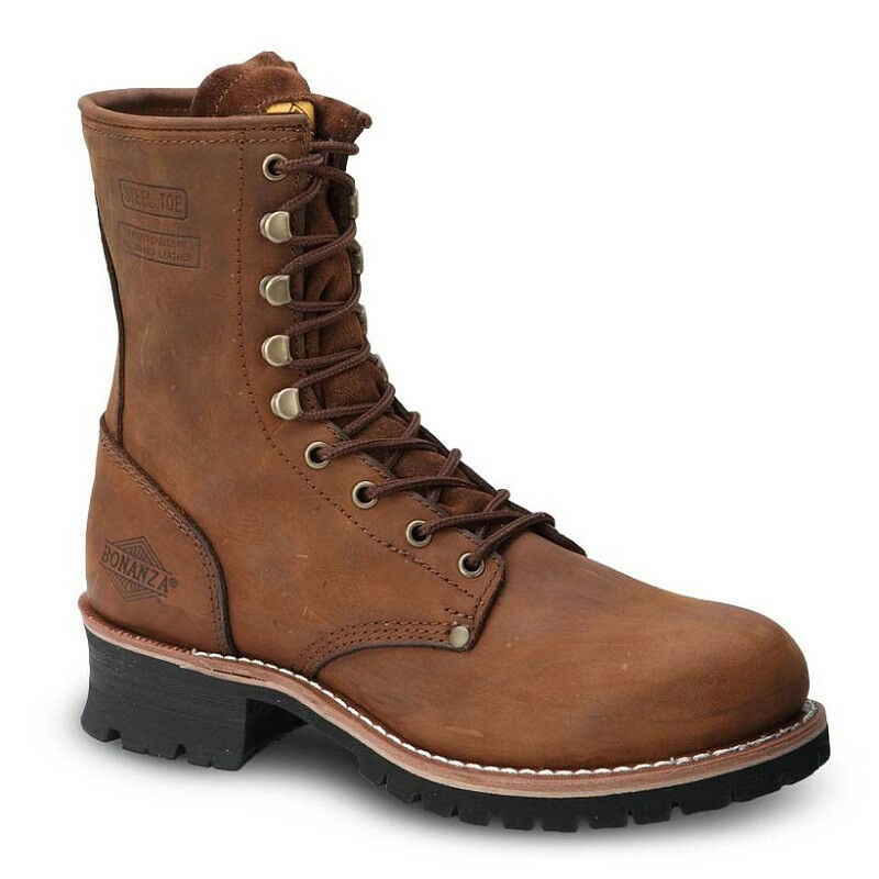 Mens Brown 9  Logger Oiled Leather Steel Toe Work Boots BAT-901 Size 5-13 (D, M)