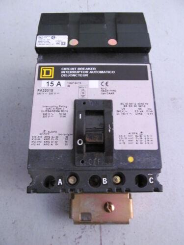 Square D FA32015 I Line Circuit Breaker 15 Amp 3 Pole 240 V