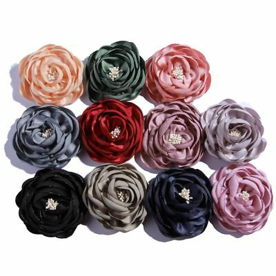 Burned Edge Satin Layered Fabric Flowers For Hair Headbands Accessories 20pcs