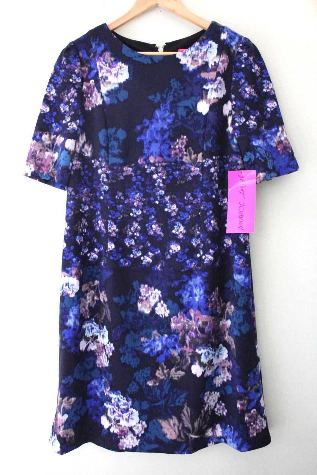 NWT Betsey Johnson Gorgeous schwarz Blau Floral Short Sleeve Shift Dress 10