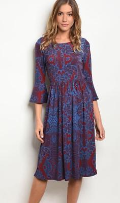 Gilli Teal//Burgundy 3//4 Bell Sleeve Dress
