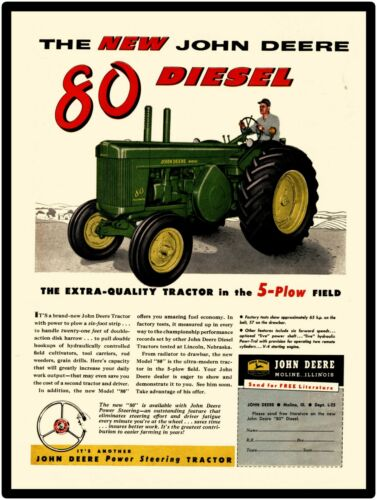 John Deere Tractors New Metal Sign Model 80 Diesel Tractor Featured