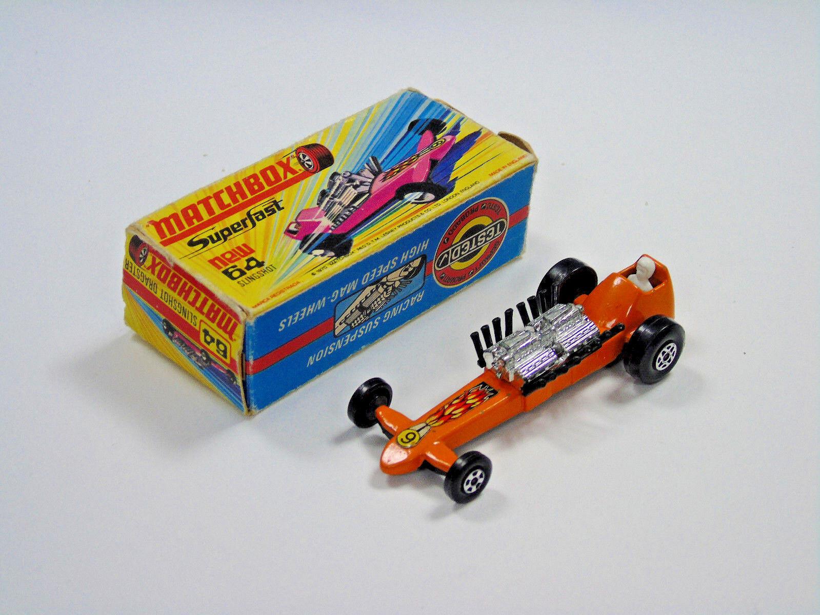No.64 1971 Matchbox Superfast Lesney Slingshot Dragster orange 1 64 Scale Boxed