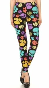 fc1a0fad434aa Image is loading Buttery-Soft-Rainbow-Paw-Print-Leggings