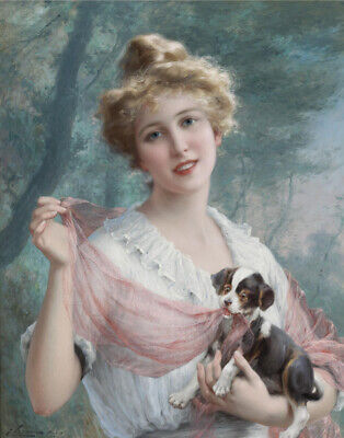 "Beautiful Woman With a Poppy 8.5x11/"" Photo Print Emile Vernon Fine Art Portrait"