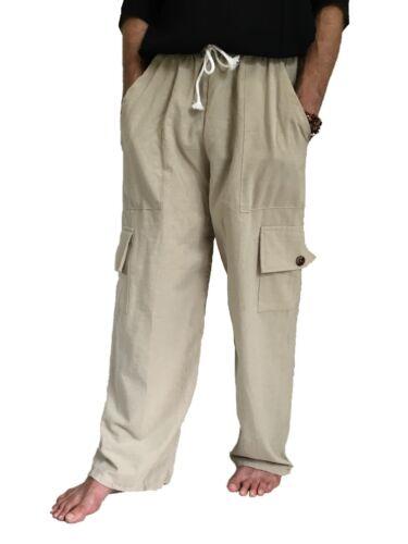 Men/'s 100/% Cotton Cargo Pants PLUS Size baggy pants Drawstring Elastic Waist