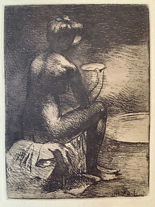 Angèle delasalle high water engraving etching study female nude woman