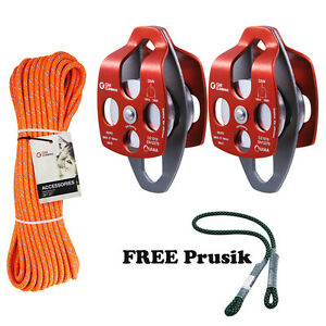 Twin Sheaves Block and Tackle System Set 32kN Pulleys 100feet Double Braid Rope