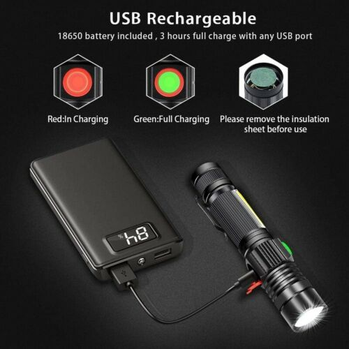 Details about  /65000lm T6 LED Flashlight USB Rechargeable Zoom Torch With Magnet With Clip