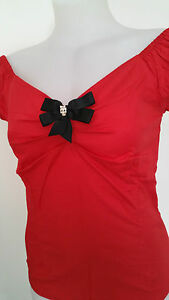 Rockabilly-Pinup-Red-Peasant-Style-034-Wendy-034-Top-gt-Diamonte-Skull-Bow-size-M