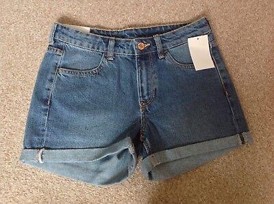 * Nuovo Con Etichette * Denim & Blu Vita Regolare Co Pantaloncini Di Jeans Uk 8- Sapore Puro E Delicato