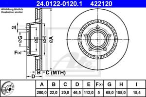 ate 24.0122-0120.1 2 unidades Disco de freno