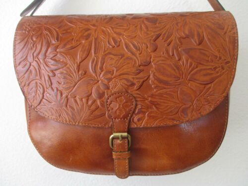 PATRICIA NASH ROSOLINI LEATHER SADDLE BURNISHED GOLD TOOLED PURSE - NEW