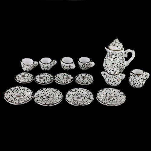 Puppenhaus Miniatur Speise Geschirr Porzellan Tee Set 15 Stk Gaensebluemch H5W1